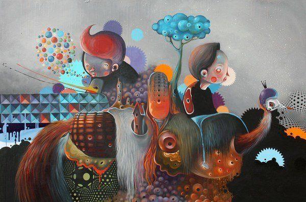 busy world painting philip bosman modern art mixed style