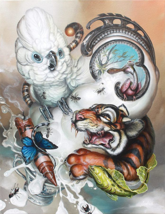 A cockatiel and tiger form an unlikely animal relationship in this pop surrealism cartoon painting by Greg Simkins