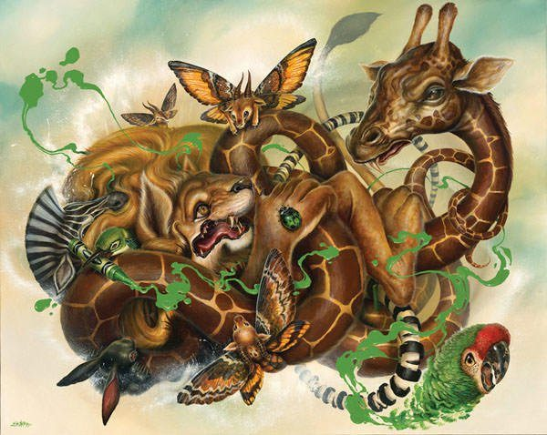 African animals, butterflies and birds get caught in a tangle in this pop surrealist painting by Greg Simkins