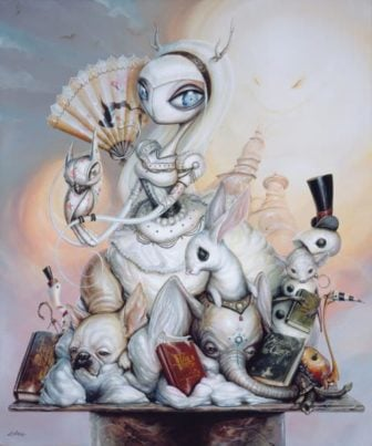 Beautiful but bizarre, this painting is a perfect example of Greg Simkins pop surrealist imagination