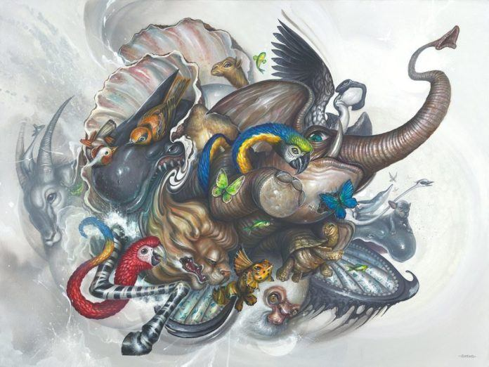 Cartoon animals from different enivronments come together in this creative pop surrealism painting by Greg Simkins