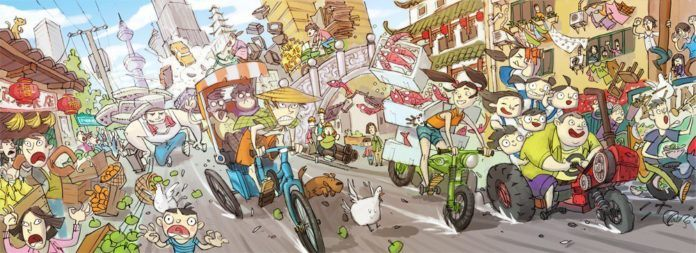 Ken Wong concept design city people chaos illustration art