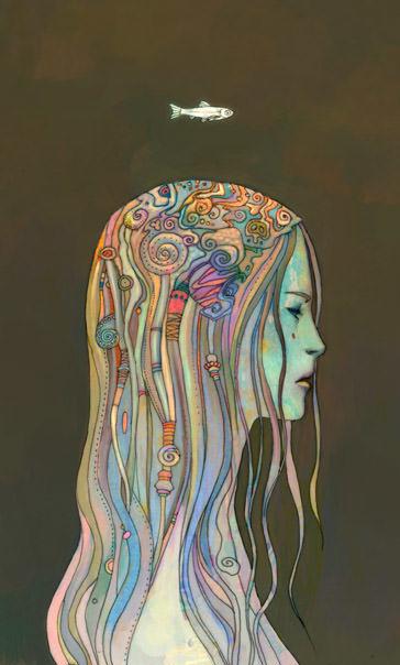 Ken Wong decorative illustration design girl profile art inspiration