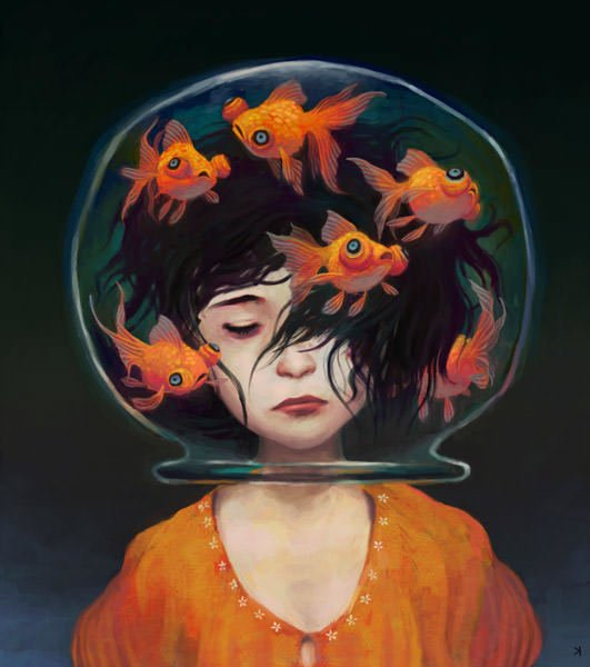 Ken wong art painting goldfish girl design inspiration