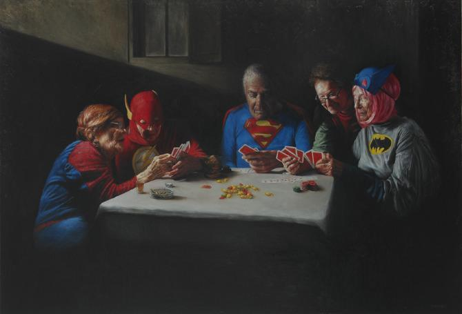 Yarmosky old aged superheroes pensioners gambling poker retired funny painting