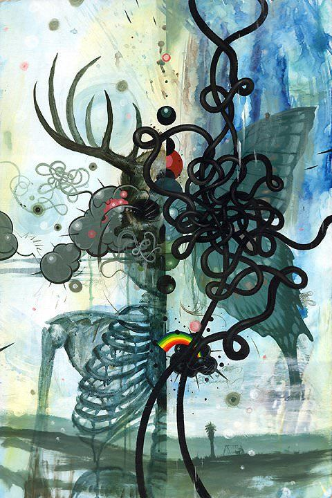 abstract ribs antlers squiggles design painting weird