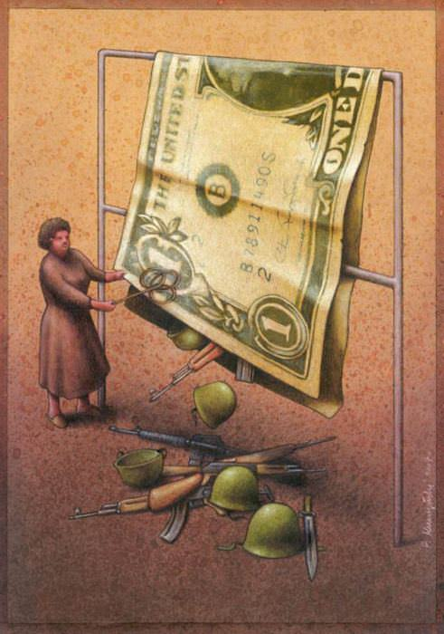 american social commentary art money war dollar bill surrealist painting