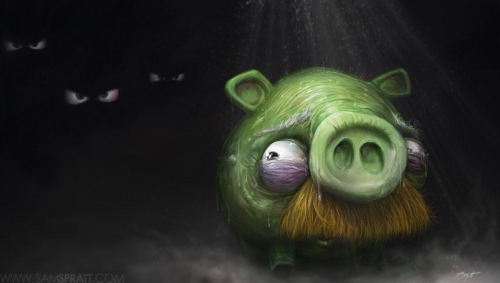 Angry birds pig in the dark funny painting art cartoon game comic Mayhem amp Muse