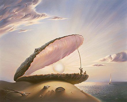beautiful surrealist painting pearl oyster shell sun art