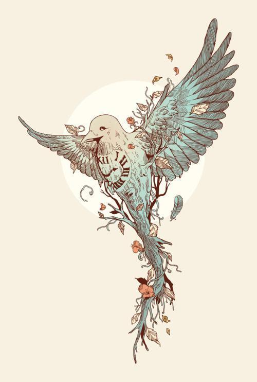 bird-plant-time-clock-illustration-animal-art-design
