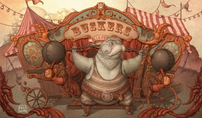 buskers circus illustration walrus weight lifter comic drawing