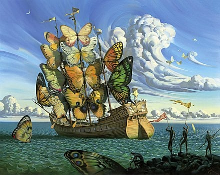butterfly ship sails insects surrealism beauitful famous painting