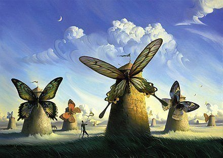 butterfly windmills beautiful surrealist painting art
