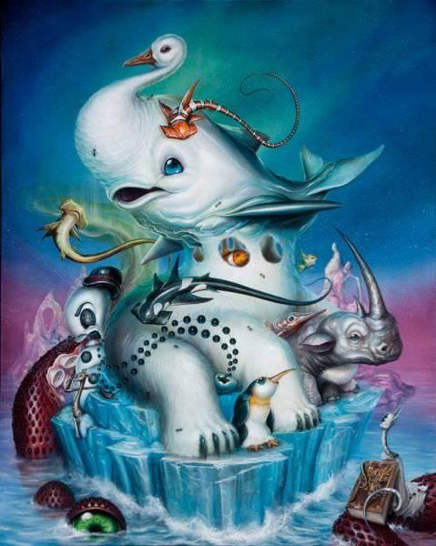 Graffiti artist Greg Simkins creates a collage of animals in this pop surrealist cartoon painting