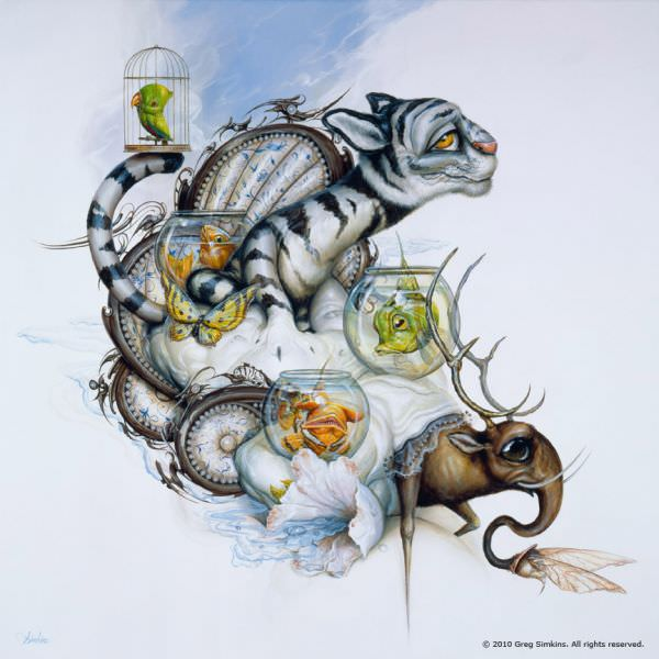 "Fish, birds and cats combine to create an animal menagerie in this pop surrealist painting by Greg ""Craola"" Simkins"