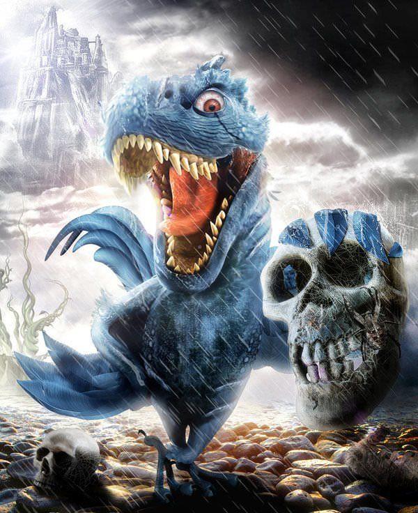 dino bird dinosaur skull photoshop painting digital art