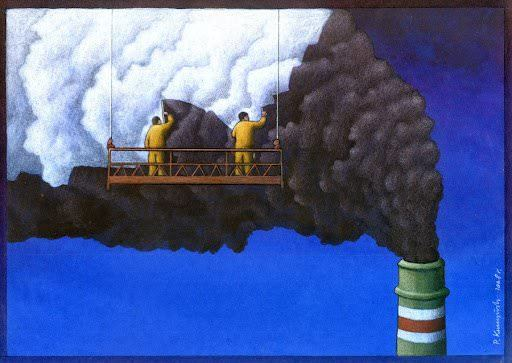 eco art painting smog white clouds surrealism humor design