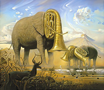 elephant trumpets africa surrealism painting art animal