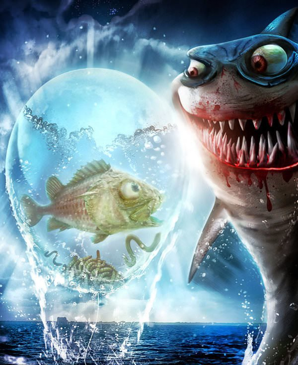 evil fish hunting photoshop painting art wicked funny
