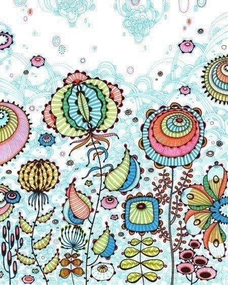 flowers floral decorative design art print pen and ink illustration
