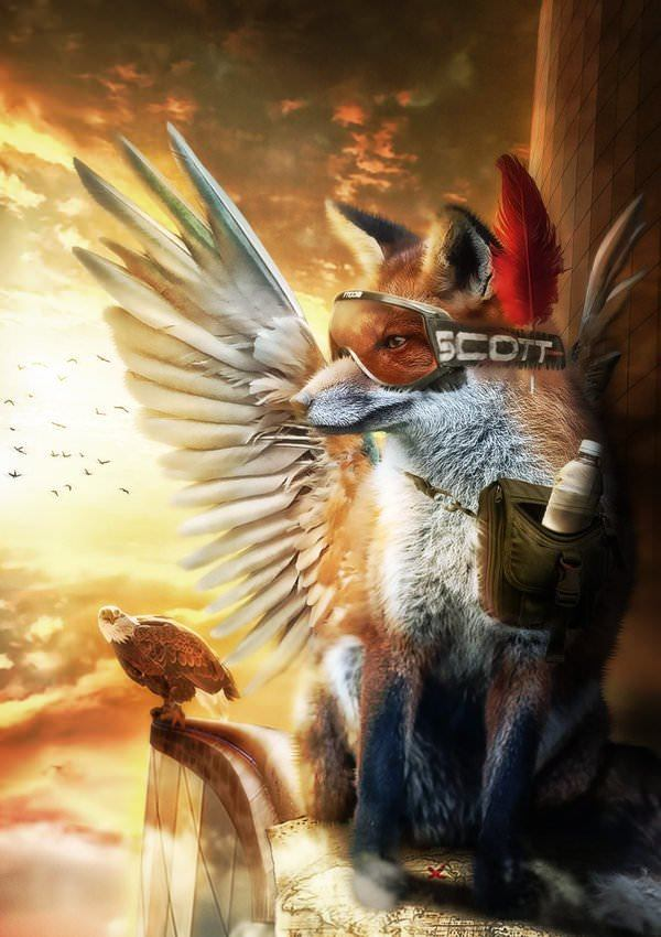 flying fox pilot wings eagle photoshop painting art