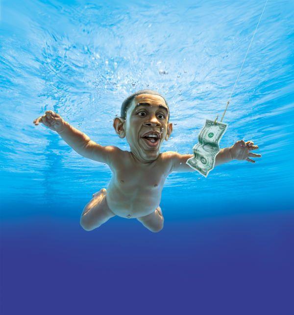 fredrickson art obama nirvana album cover spoof political humor illustration