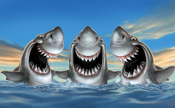 fredrickson funny grinning sharks teeth art illustration humor