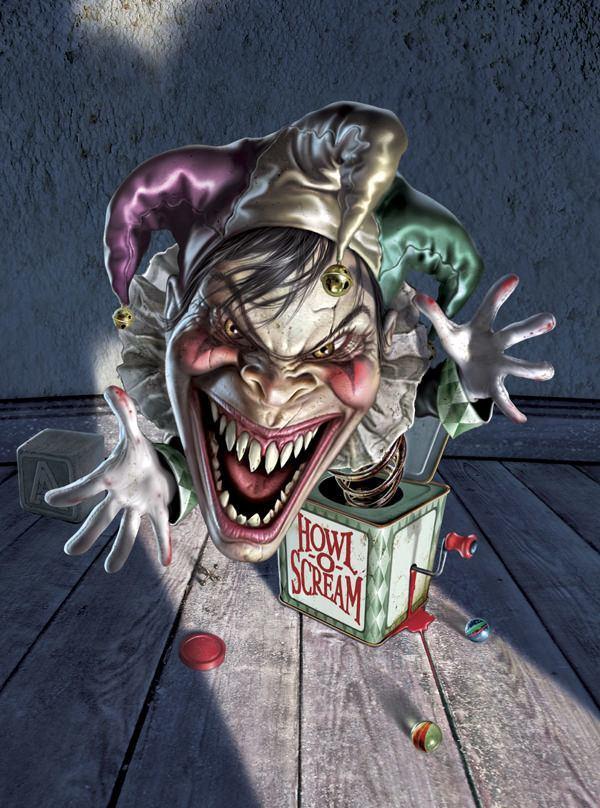 fredrickson horror halloween jack in the box freaky clown art