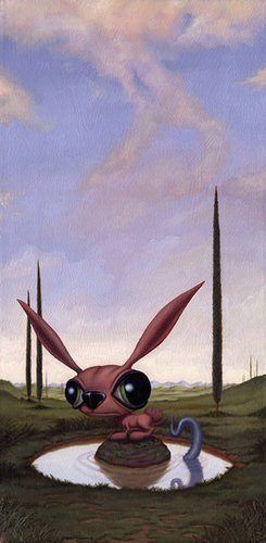 funny alien creature bunny surrealism fantasy art painting