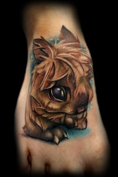 fuzzy bunny cute cartoon character tattoo