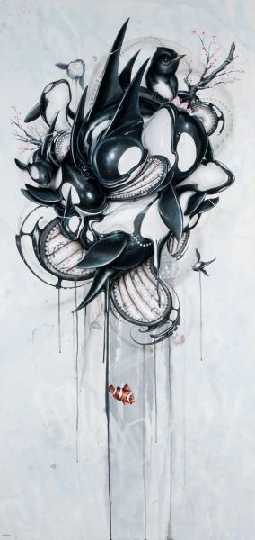 "Greg ""Craola"" Simkins has used killer whales as the subject of this twisted, graffiti and pop surrealism painting"