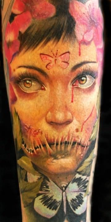 horror fairy woman face portrait tattoo design butterfly