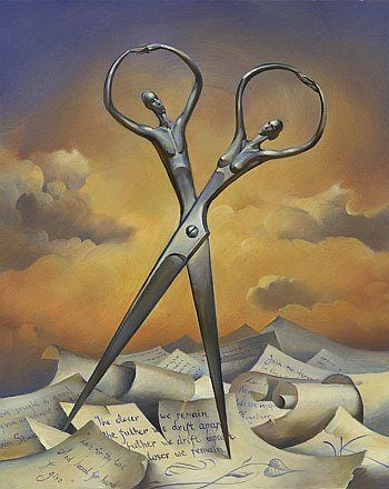 human scissors people silhouette surrealism painting art
