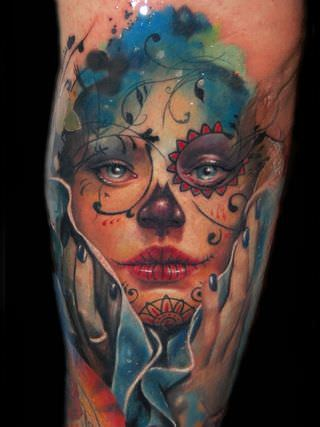 incredible amazing tattoo design shading marionette paisley color ink