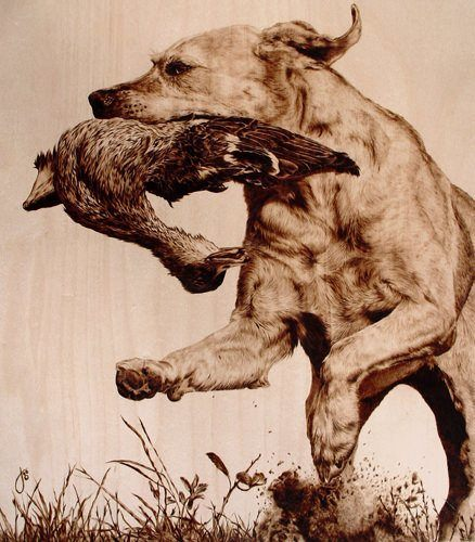 A photorealistic portrait of a dog carrying a duck by wood burning artist Julie Bender