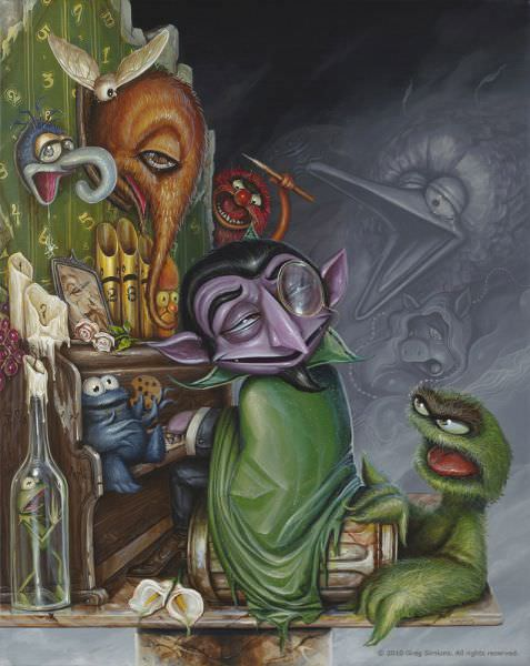 Greg Simkins paints a pop surrealist scene of the Muppets in this imaginative art work