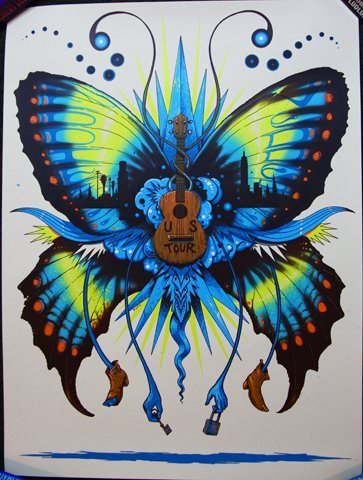 music art butterfly guitar poster design lock and key