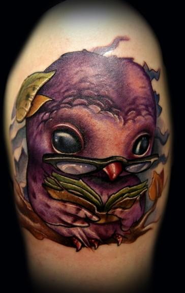 nerdy owl geek tatto design cute cartoon design