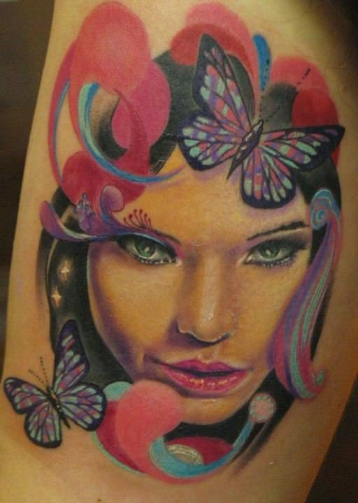 pase beautiful tattoo design woman face portrait art
