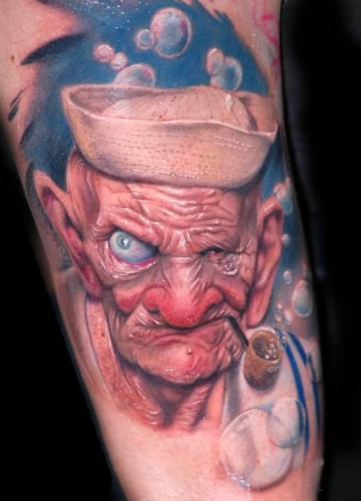 pase portrait tattoo popeye sailor old man bubbles art