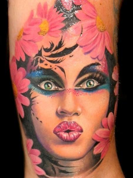 pase tattoo design woman portrait queen daisy flower