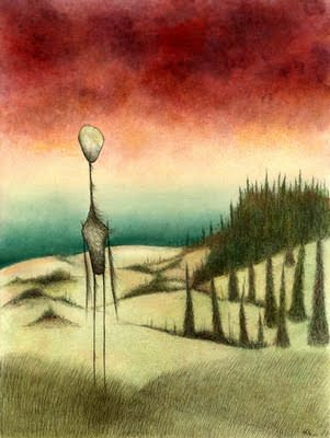 paske art impression illustration design man on dunes