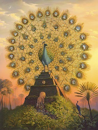 peacock pyramid surrealist painting art bird animal beautiful