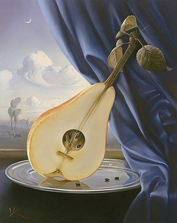 pear mandolin guitar music instrument fruit surrealist painting art