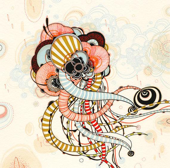 pen an ink illustration art surreal organic geometric style print