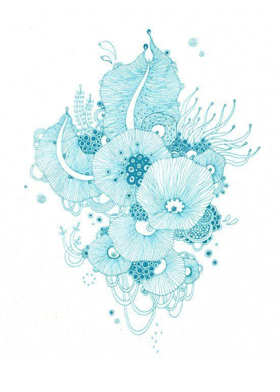 pen and ink blue decor print design line art
