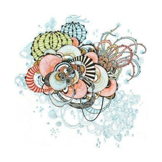 pen and ink design sea flora organic plant design art print