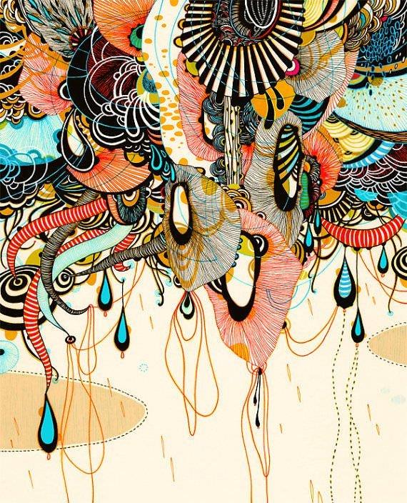 pen and ink illustration organic fantasy art design print