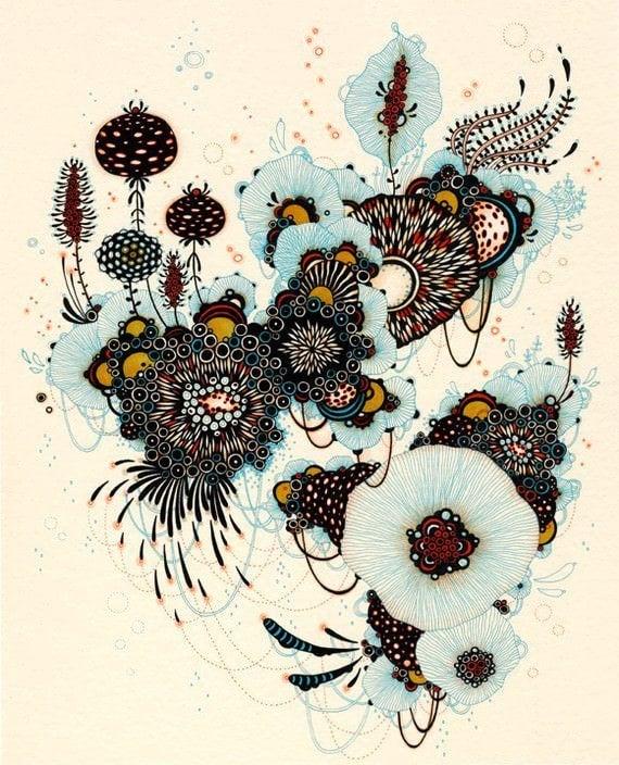 pen and ink illustration plants flowers decorative design