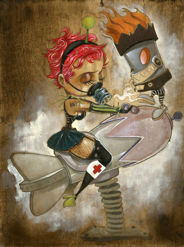 peters painting cartoon art post apocalypse playground girl